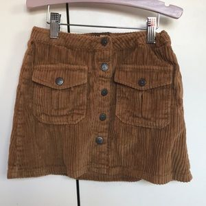 Girls brown mini corduroy skirt with pockets